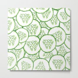 Cucumber slices pattern design Metal Print