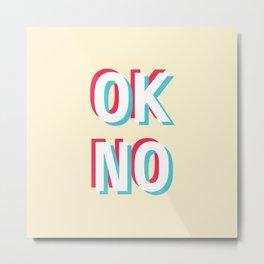 Ok no (red/blue) Metal Print