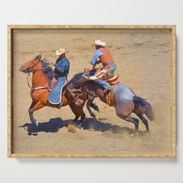 The Saddle Bronc and the Pickup Man - Rodeo Art Serving Tray