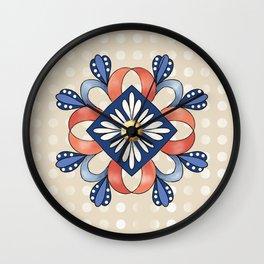 Flower and Ribbon Mandala Wall Clock