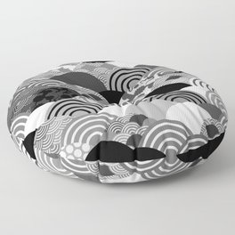 Nature background with japanese sakura flower, Cherry, wave circle Black gray white colors Floor Pillow