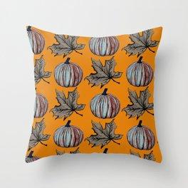 Pumpkin Spooky Fall Leaf Throw Pillow