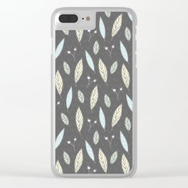 Pastel gray blush blue pink yellow chevron floral leaves Clear iPhone Case