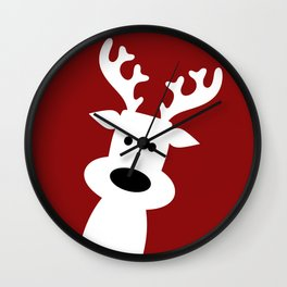 Reindeer on red background Wall Clock