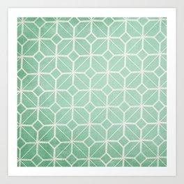 Shanghai - Hemlock / Mint / Jade Retro Geometric  Art Print