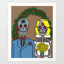 Day of the Dead Bride & Groom Portrait Art Print