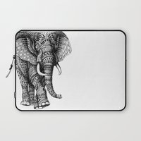 elephant Laptop Sleeves featuring Ornate Elephant v.2 by BIOWORKZ