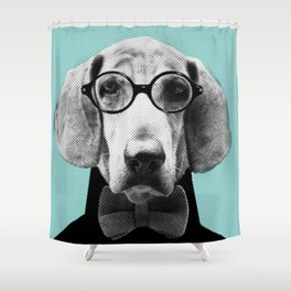 Mr Italian Bloodhound the Hipster Shower Curtain