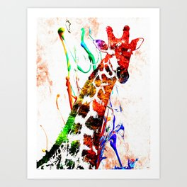 Giraffe Grunge Art Print