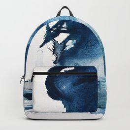 Pacific Grove: a pretty minimal abstract piece in blue by Alyssa Hamilton Art Backpack