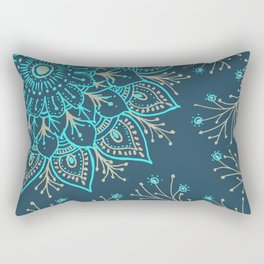 Teal Gold Mandala Rectangular Pillow