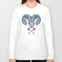 ram Long Sleeve T-shirts featuring The Ram (Aries) by Rachel Caldwell