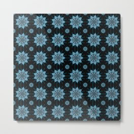 Geometric Floral Pattern - Turquoise Blue & Black Metal Print
