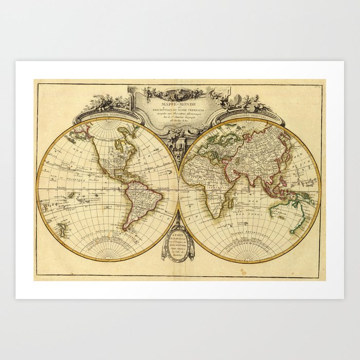 Old Fashioned World Map Art Print By Bravuramedia Society - Old time world map