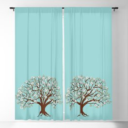 apple tree with blossom on the blue Blackout Curtain