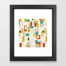 Mid Century Modern, Sputnik Pattern Framed Art Print