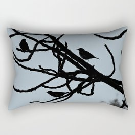 Sparrows Birds Tree Bare Branches Silhouette Rectangular Pillow