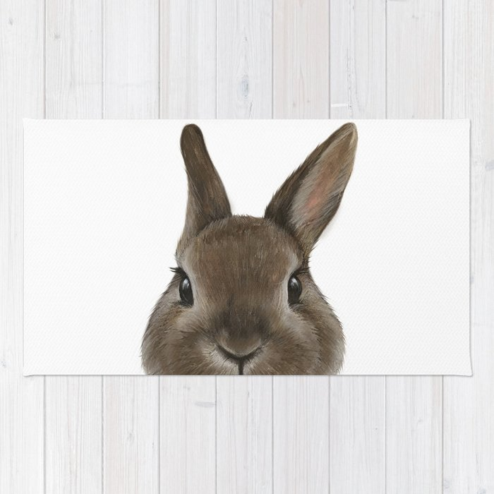 Netherland Dwarf Rabbit Illustration Original Painting Print Rug By