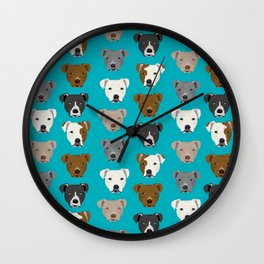 Pitbull faces dog art dog pattern pitbulls cute gifts for rescue dog owners Wall Clock