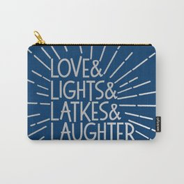 LOVE & LIGHTS & LATKES & LAUGHTER Hanukkah ampersand design blue silver Carry-All Pouch