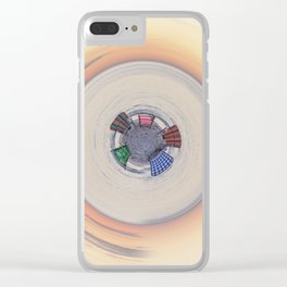 Wooden chairs on the beach - tiny planet Clear iPhone Case