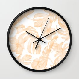 Island Vacation Hibiscus Palm Leaf Coral Apricot Orange Wall Clock