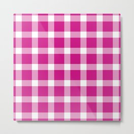 Plaid Hot Pink Metal Print
