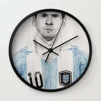 messi Wall Clocks featuring Lio Messi by Alan Myers
