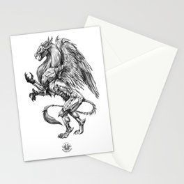 Dark Side Heraldic Griffin | Pencil Art Stationery Cards