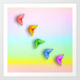 Rainbow butterflies and chevron Art Print