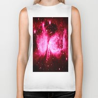 hot pink Biker Tanks featuring A Star is Born : Hot Pink Galaxy by Galaxy Dreams