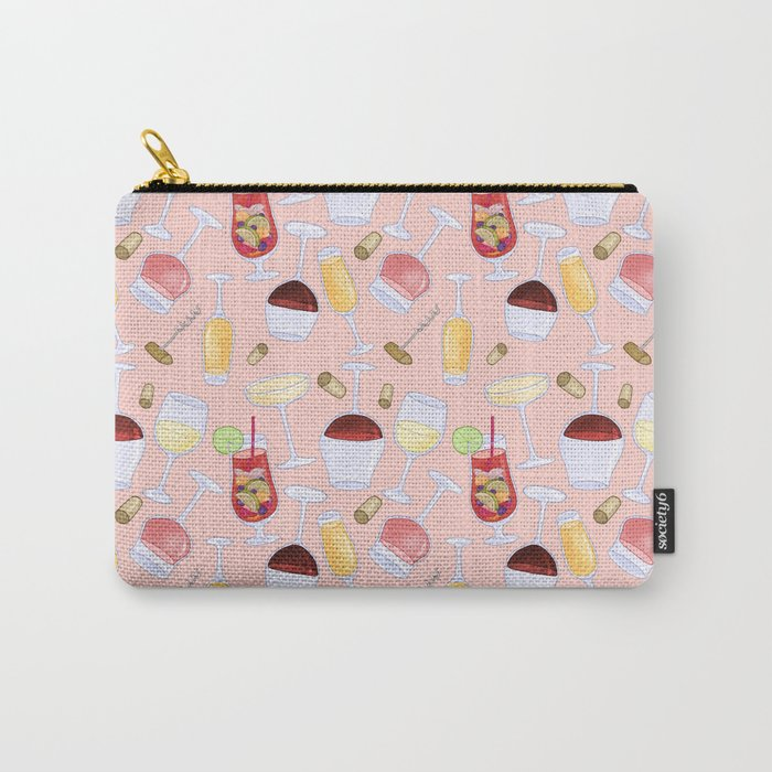 Happy Wine Pattern Carry-All Pouch