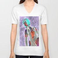 sci fi V-neck T-shirts featuring Sci Fi Girl  by Brian Raggatt
