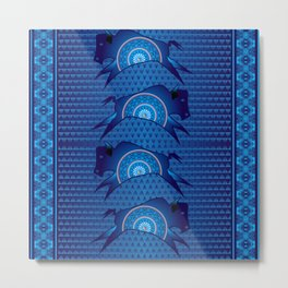 Buffalo Running (Blue) Metal Print