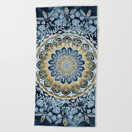 Blue Floral Mandala Beach Towel
