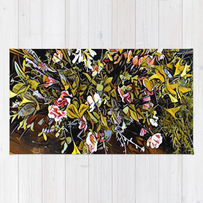 Yellow and Pink Bouquet of Flowes Rug