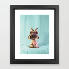 Demon Puppy With Plastic Gemstone Eyes Framed Art Print