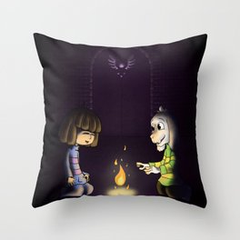 Frisk and Asriel Throw Pillow
