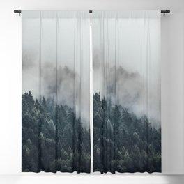 Misty Foggy Minimalist Landscape Photography Pine Forest Blackout Curtain