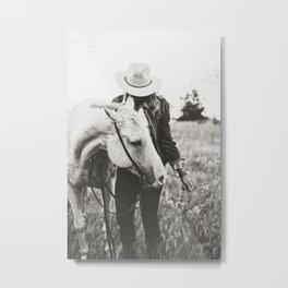 A Cowgirl & Her Horse - Black & White Photo Metal Print