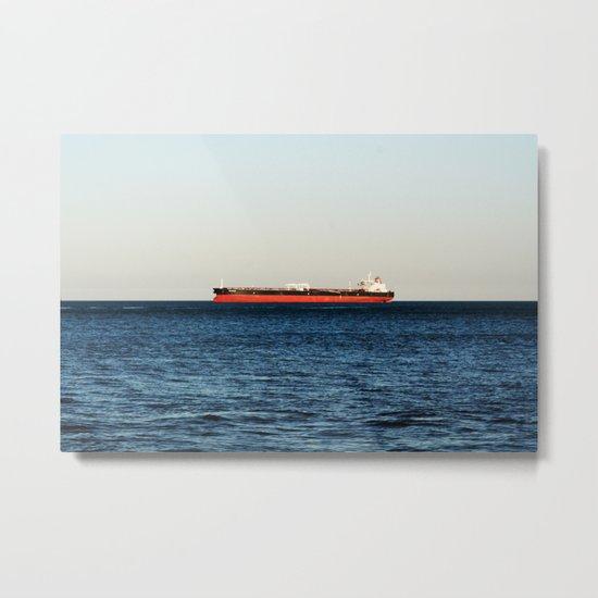 Cargo Ship Seascape Metal Print