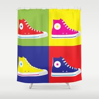 converse Shower Curtains featuring Converse Pop Art by tantoonie