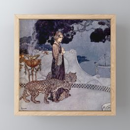 """""""Circe With Leopards"""" by Edmund Dulac Framed Mini Art Print"""