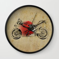 Ducati 1199 Panigale - Original drawing | gift for men and bikers Wall Clock