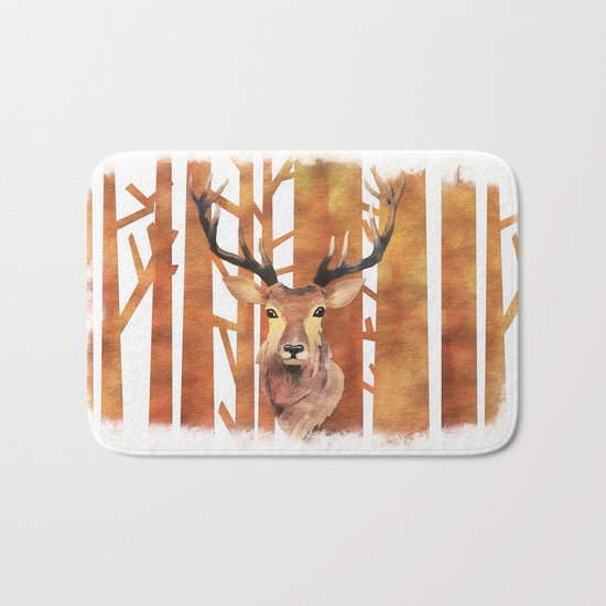 Proud deer in forest- Watercolor Illustration Bath Mat