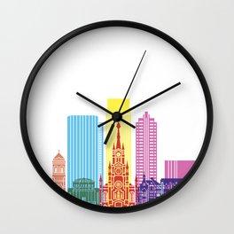 Medellin skyline pop Wall Clock