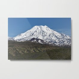 Summer mountain landscape, view of snowcapped cone of volcano on Kamchatka Peninsula Metal Print
