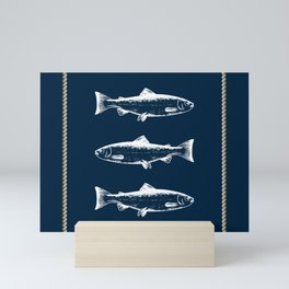 White Fish And Ropes Marine Design Mini Art Print
