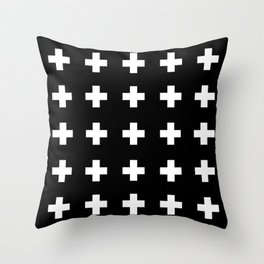 Swiss Cross Black Throw Pillow