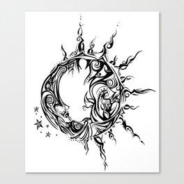 Tribal Sun and Moon Canvas Print